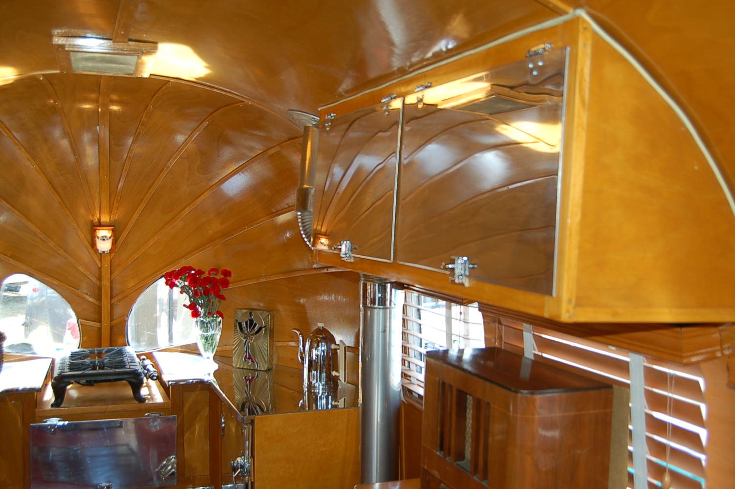 Beautiful Ceiling Cabinets With Custom Metal Door Panels In 1936 Airstream  Clipper
