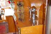 1936 Airstream Clipper trailer with Ornate polished top casting on wood stove