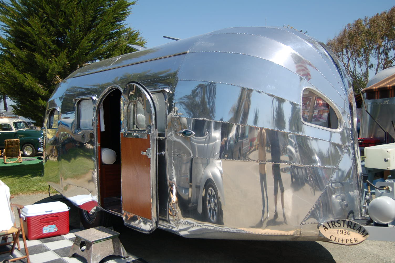 Rare 1936 Airstream Clipper Showing The Beautiful Side Door Wood Panel