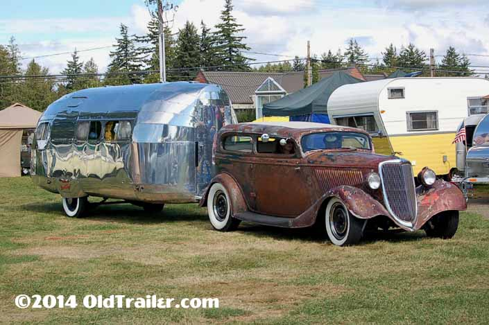 This vintage towing rig is a Customized Ford Tudor pulling a 1936 Bowlus Trailer