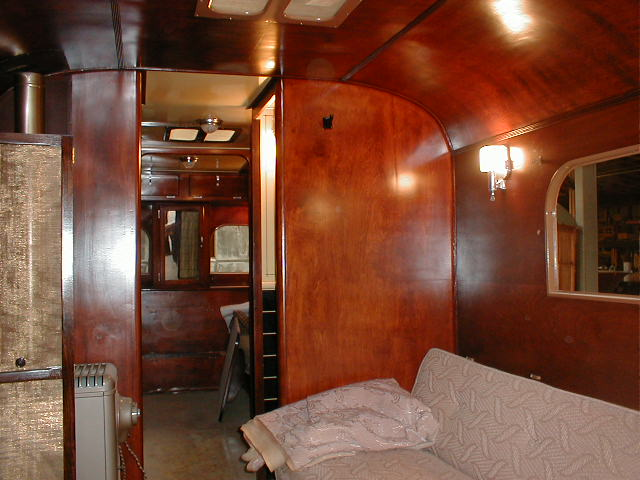 Vintage Living Room Couch In 1937 Royal Wilheim Travel Trailer
