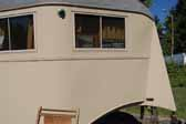 Original window frames in a vintage 1937 Vagabond trailer