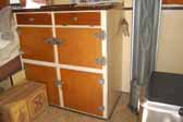 Picture of the kitchen cabinets in a vintage 1937 Vagabond trailer