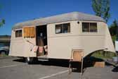 Photo of a vintage 1937 Vagabond trailer