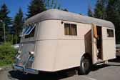 Picture of the rear end of a 1937 vintage Vagabond travel trailer