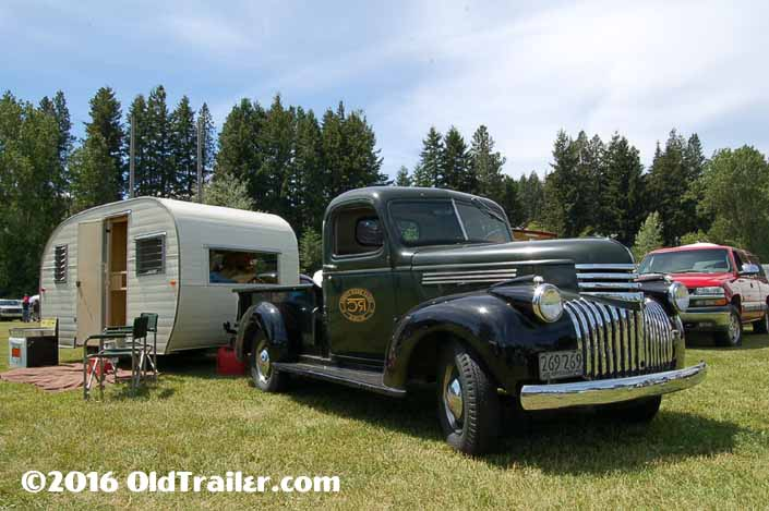 This vintage towing rig is a 1946 chevy pickup truck pulling a vintage Trailer