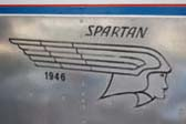 Factory Spartan Logo on Side of 1946 Spartan Manor Travel Trailer