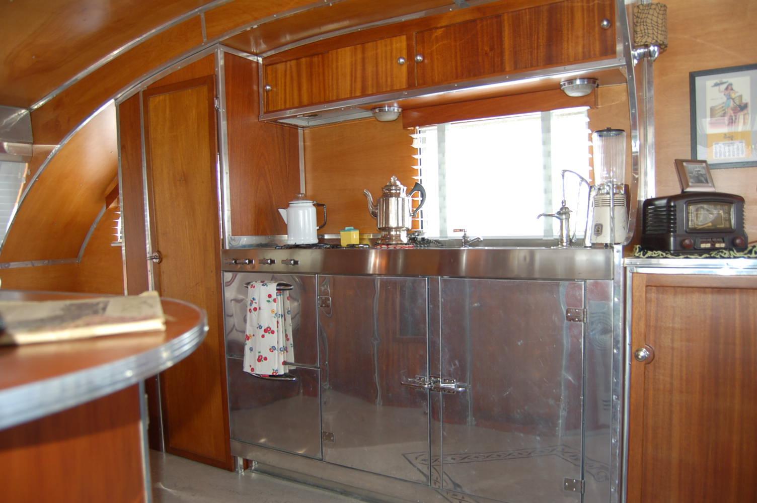 1947 Aero Flite Trailer Stainless Kitchen Cabinets