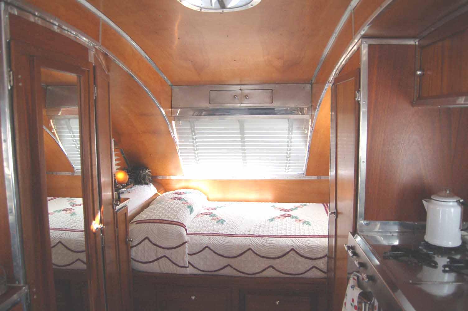 Picture Shows Beautiful Bedroom In Restored 1947 Aero Flite Trailer