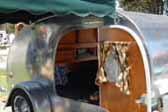 1947 Kit Teardrop Trailer With Wood Paneling and Canvas Awning