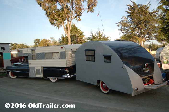This vintage towing rig is a vintage cadillac pulling a 1947 komfort koach teardrop Trailer