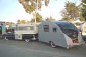 1947 Komfort Koach Vintage Teardrop With Cadillac Camper Tow Vehicle