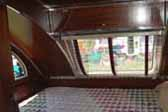 Large bedroom area in the rear of a 1948 Aero Flite trailer