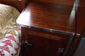 Perfectly designed bedroom nightstand cabinet in a 1948 Aero Flite vintage trailer