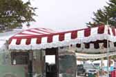 Picture of red and white striped awning on a 1948 Boles Aero vintage trailer