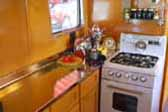 Vintage gas stove and oven in 1948 Spartan Manor Trailer kitchen