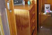 Picture of the built-in dresser cabinet in the bedroom of a 1948 vintage Vagabond trailer