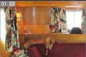 1948 Vagabond vintage trailer has restored cabinets in the front living room