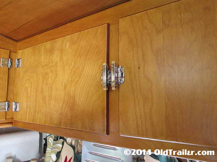 1948 Vagabond travel trailer still has the original chrome squeeze cabinet latches