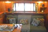 Very inviting dining room in 1948 Westcraft Sequoia Vintage Trailer