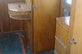 Photo of original cabinetry in vintage 1948 Westcraft Westwood trailer