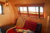 Vintage 1949 Airfloat Skipper trailer with very warm and comfy living room sofa