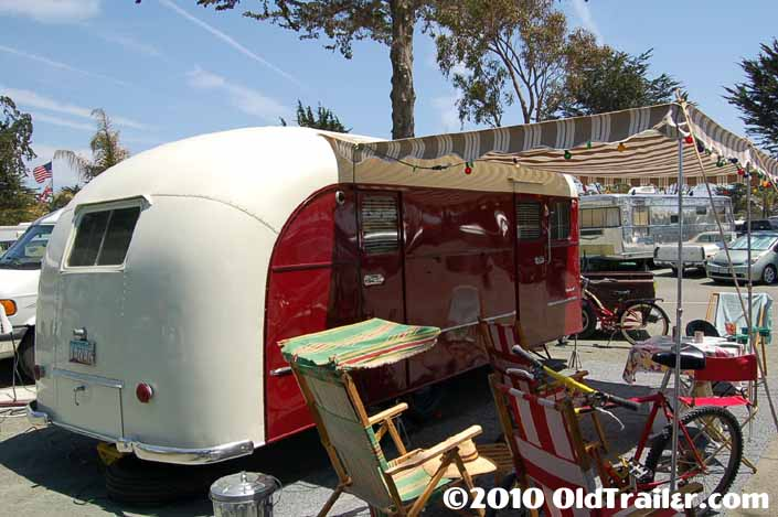 Camping at the Pismo trailer rally in a 1949 vintage Vagabond trailer