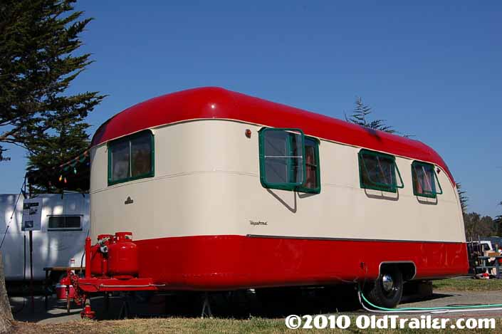 This is a beautifully restored vintage 1950 Vagabond trailer