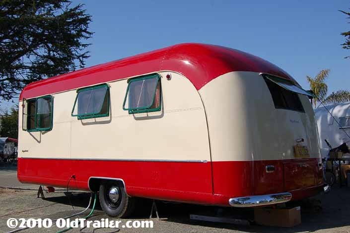This restored 1950 Vagabond trailer has the original swing out window frames