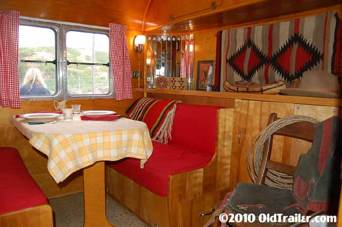 Vintage 1950 Vagabond trailer has the dining area on the street side