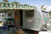 Classic 1951 Spartanette Tandem Trailer With Green Striped Awning