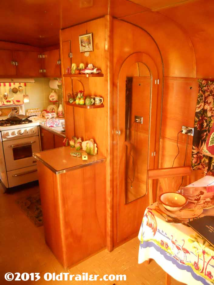 1951 Vagabond vintage trailer with a side bathroom cabinet