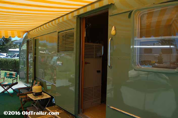 Restored 1951 Vagabond trailer has the original sliding screen door pocket door