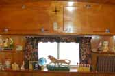 Photo of living room cabinets in a 1951 Vagabond vintage trailer