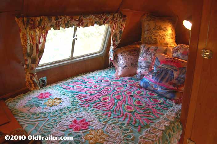 Restored 1951 Vagabond vintage trailer has a cozy back bedroom
