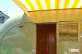 Photo of the hinged rear door in a 1951 Vagabond vintage trailer