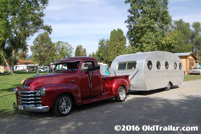 This vintage towing rig is a vintage chevy pickup truck pulling a 1952 airfloat vintage trailer