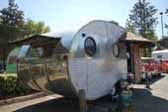 Vintage 1952 Airfloat trailer has stock curved protective bands on the rear-end