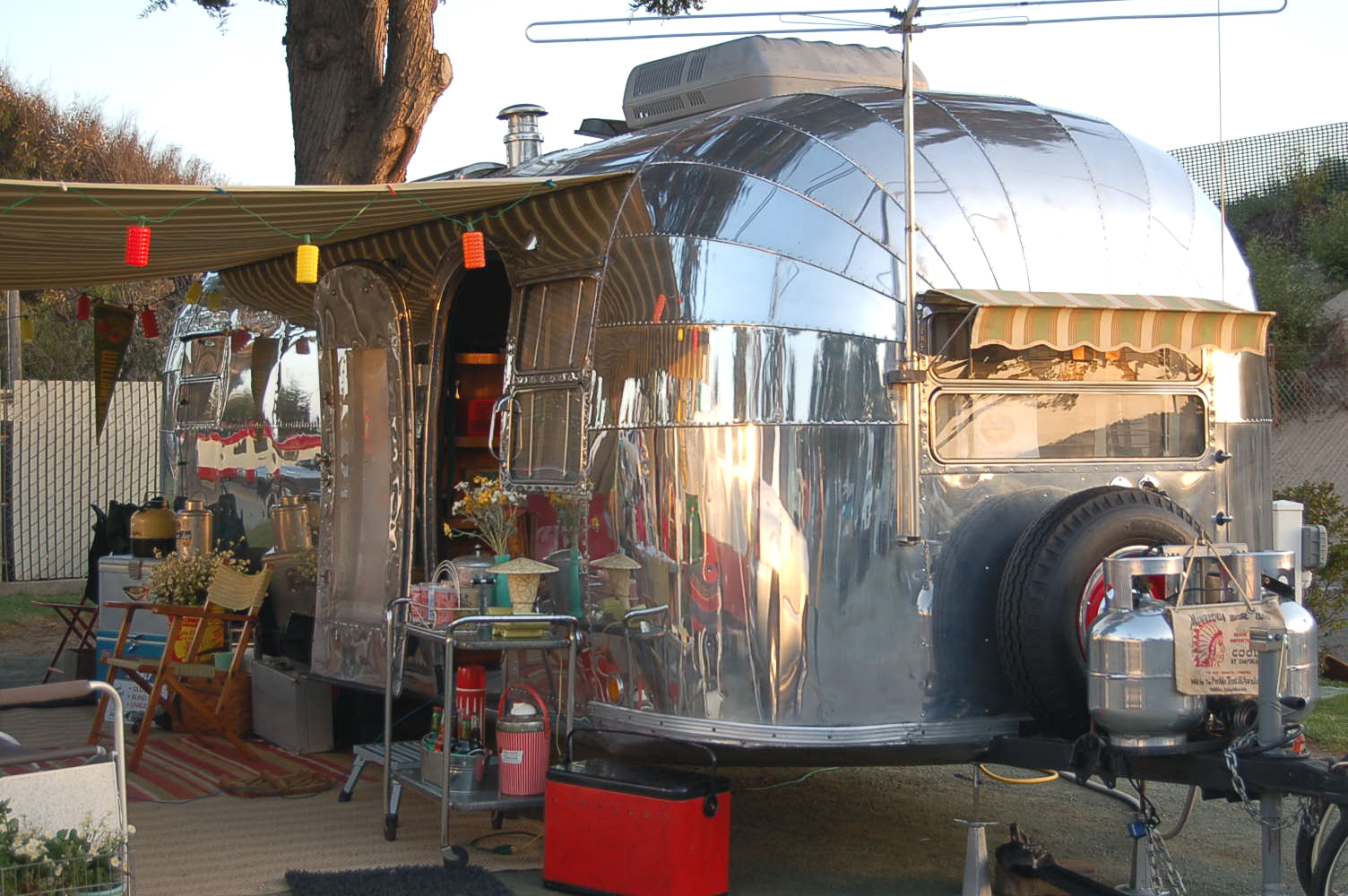 Vintage 1952 Airstream Cruiser Trailer With Awning Lantern Lights