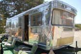 Cool Retro Curved Corner Windows on 1952 Spartan Royal Manor Travel Trailer