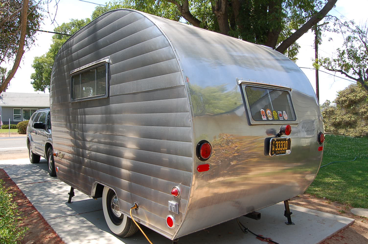Street Side View Of Beautifully Restored 1953 Sportcraft Trailer Distributed By Aljoa Industries