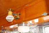Beautifully re-finished birch ceiling paneling and cabinets in a rare 1953 Aljoa Travel Trailer