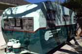 Beautifully restored vintage 1953 Aljoa travel trailer in 2 tone green paint