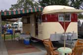 Vintage 1953 Vagabond trailer setup for camping at the Pismo Vintage Trailer Tally