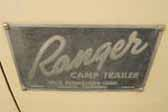 Original ID Plate on 1954 Ranger PopUp Tent Trailer