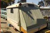 Floor section pulls out to provide more space in a 1954 Ranger PopTop Tent Trailer