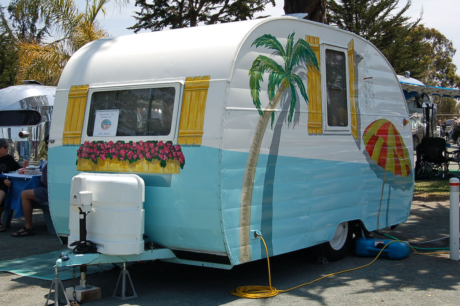 Here Colorful Wild Horses Gallop Across The Side Of This Retro Camper Vintage Shasta Trailer