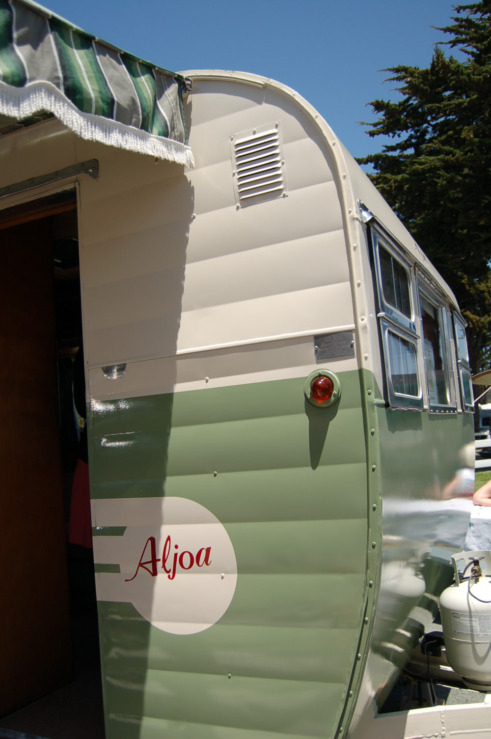 Restored Vintage 1955 Aljoa Sportsman Trailer With New Avocado Green And Cream Exterior Paint Scheme