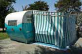 Classic 1955 Aljoa Trailer with blue and white striped side awning, Ready For Camping