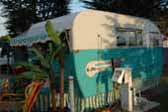 Classic 1955 Aljoa trailer at Trail Along to Pismo trailer campout in Pismo Beach California